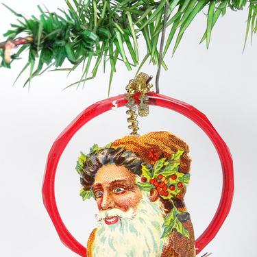 Vintage Santa in Glass Christmas Wreath Ornament, Victorian Die Cut Santa Scrap,  Tinsel Trim, Retro Decor by exploremag