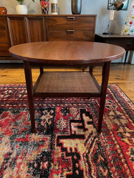 Walnut and Cane round side table by Founders 1960s