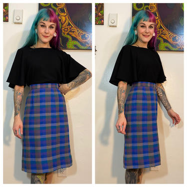 Vintage 1960's Blue Plaid Pencil Skirt by SurrealistVintage