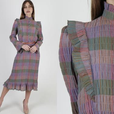 Muted Rainbow Plaid Dress / Smocked Ruffle Tuxedo Dress / Wide Bell Sleeve Midi Maxi Dress / Plaid Button Down Bodice by americanarchive