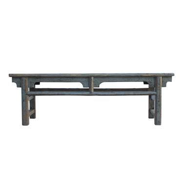 Distressed Gray Lacquer Long Low Bench Table Stand cs6050E by GoldenLotusAntiques
