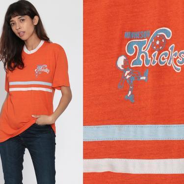 Soccer Shirt Minnesota Kicks Shirt Ringer Tee Champion Tshirt 80s Sports Football Orange Vintage T Shirt Graphic Retro 1980s Medium Large by ShopExile