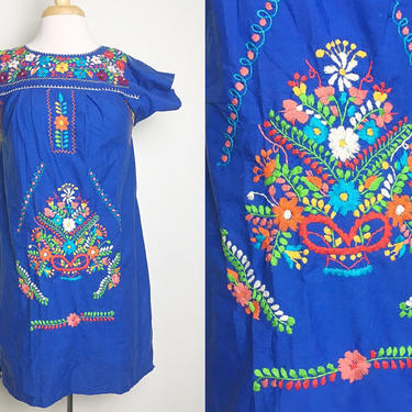Vintage 1970s Blue Handmade Mexican Embroidered Mini Dress | Hand Made Mexican Dress |  Folk Hippie Mexican Frida Kahlo | Sz Small by MobyDickVintage
