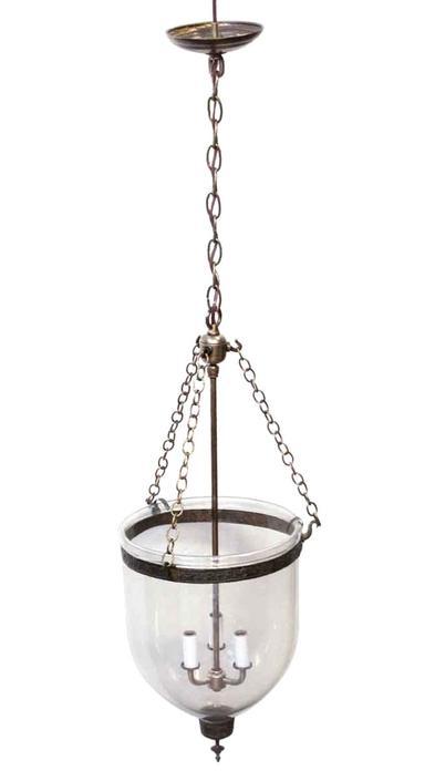 Glass Vintage Bell Jar Light with Floral Brass Details