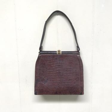 Vintage 1950s Brown Lizard Handbag, Genuine Lizard Skin Purse, 50s Kelly Bag Style Bag, Top Handle Mid-Century Purse by RanchQueenVintage
