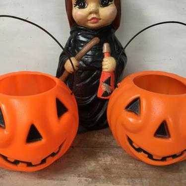 Vintage Empire Small JOL Pumpkin Pails, Small Halloween Trick Or Treat Plastic Jack O Lantern Buckets by luckduck