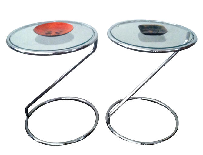 Vintage Side Tables, Mod Chrome and Glass, pair