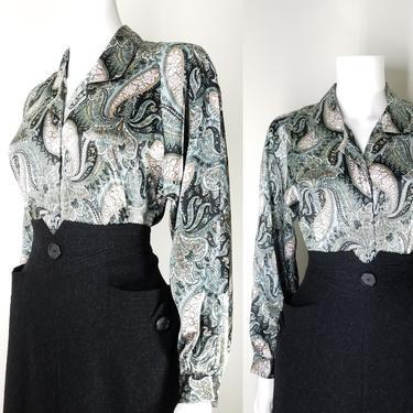 "Vintage 80s Green Paisley Satin Blouse ~ Silky Shiny Blouse Top ~ Women's Petite Medium 40"" Long Sleeve Button Down Shirt Secretary Blouse by SoughtClothier"