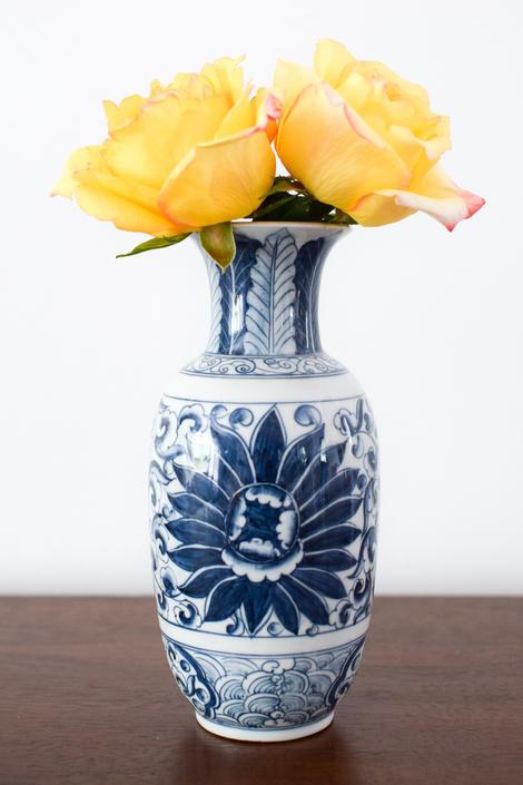 Blue and White Floral Thai Vase by CapitolVintageCharm