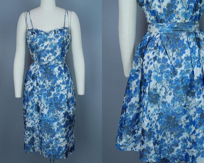 1960s Dress with Over Skirt   Vintage 50s 60s Watercolor Print Silk Cocktail Dress   medium by RelicVintageSF