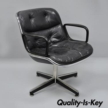 Knoll Charles Pollock Black Tufted Leather Executive Swivel Office Desk Chair