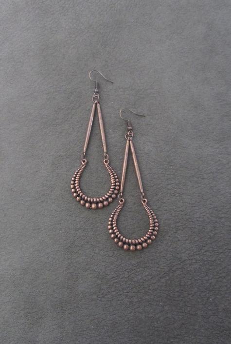 Long copper earrings, statement earrings, bold antique copper earrings, geometric mid century modern earrings, ethnic tribal earrings, boho by Afrocasian