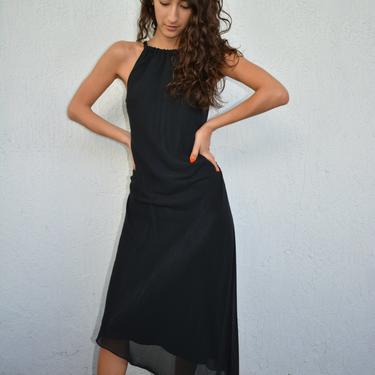 vintage halter dress / vintage asymmetrical hem dress / vintage black midi dress / y2k midi dress / hi low dress / black halter midi dress / by memoryjunkievintage