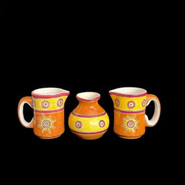 Vintage Modern Eduardo Vega of Cuenca Ecuador Set of 3 Pottery Small Pitchers Creamer Pitcher Artesa Pottery by SwankyChaperooo