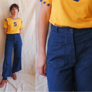 Vintage 60s 70s Button Fly Sailor Denim/ 1970s High Waisted Dark Wash Patch Pocket Bell Bottom Jeans/ Size Medium 28 by bottleofbread