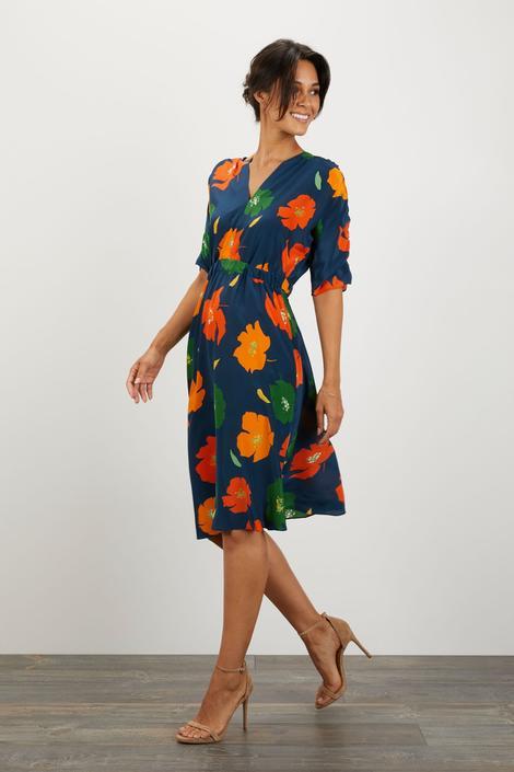 The Market Dress   Navy Poppies