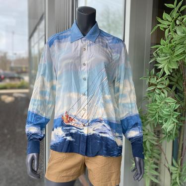 ESCADA MARGARETHA LEY Vintage 1980s 100% Silk Sailing Yacht Long Sleeve Button Front Blouse - Size 40 - Women's 10 Ocean Sky Landscape by AIDSActionCommittee