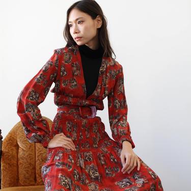 vintage 1990s jean paul gaultier burlesque print silk dress by blossomvintageshop