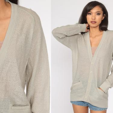 Sheer Taupe Sweater Grandpa Cardigan Sweater WOOL 70s Button Up Grunge Slouchy Hipster Vintage 80s Retro Nerd Slouch Simple Medium by ShopExile