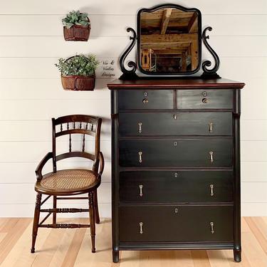 SOLD ***Antique Farmhouse Dresser / Paine Furniture of Boston / Black Dresser / Bureau / Chest Of Drawers by VivAndVioletsDesigns