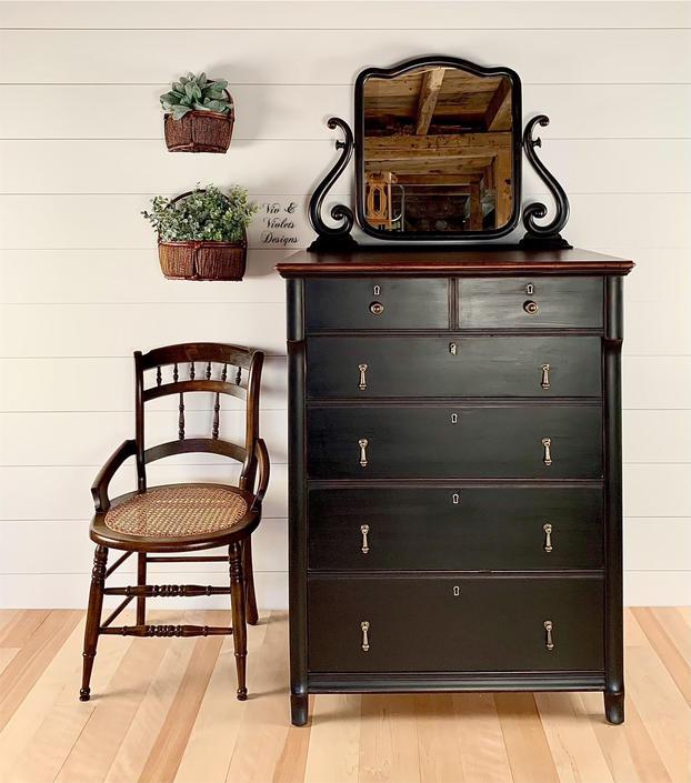 Farmhouse Dresser and Mirror / Paine Furniture of Boston / Black Dresser / Bureau / Chest of Drawers by VivAndVioletsDesigns