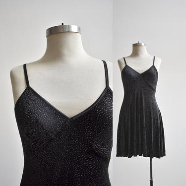 90s Slinky Black Velour Cocktail Dress by milkandice