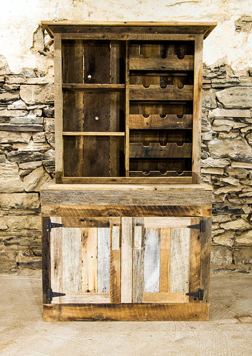 Free Shipping - Saloon Style Rustic Wine Rack and Liquor Cabinet by BarnWoodFurniture