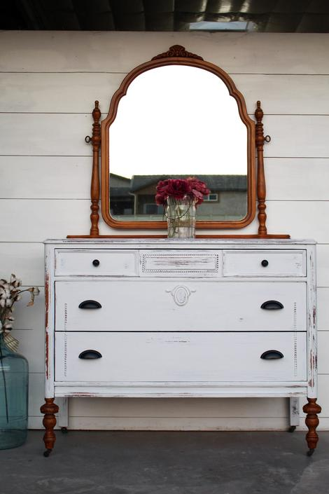 Vintage Dresser with Mirror On Casters