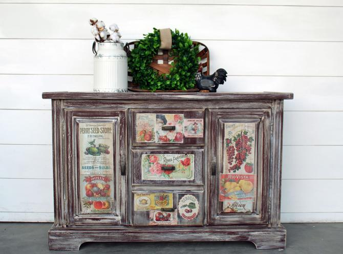Small Cranberry Red Buffet with Vintage Seed Transfer