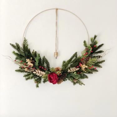 Minimalist Holiday Hoop Wreath with Vintage Bell, Modern Christmas Wreath by NovaWreaths