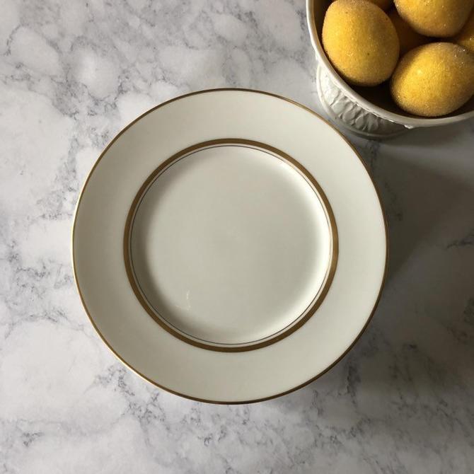 Vintage White and Gold Bone China Salad Plates, set of 8 Fukagawa Japan Dorset pattern, fukagawa arita 7000G, gold rimmed plates by ShopTheHyphenate