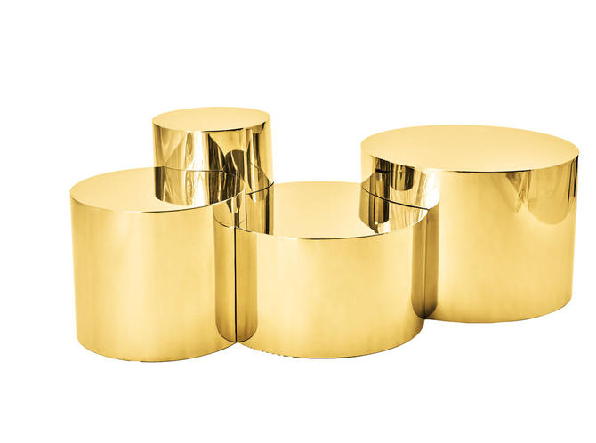 """Geometria: Cerchi #4"" Coffee Table-Brass Version"