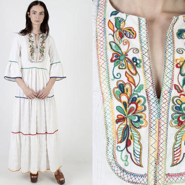 Floral Embroidered Dirndl Inspired Dress / Wide Trumpet Bell Sleeves / Rainbow Crochet Tiered Full Skirt / Bohemian Renaissance Maxi Dress by americanarchive