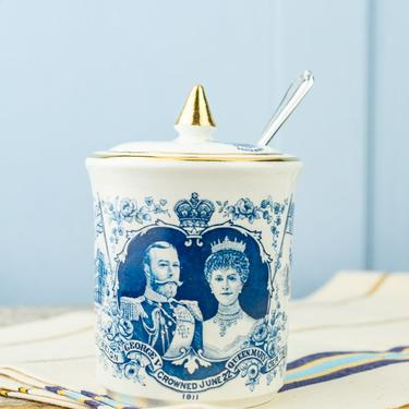 Antique Coronation 1911 Jam Pot with Silverplate Spoon