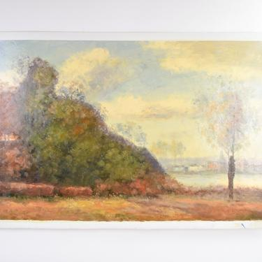 Impressionist Landscape Oil Painting Woodlands w Riverside Village by Stephano by PrairielandArt