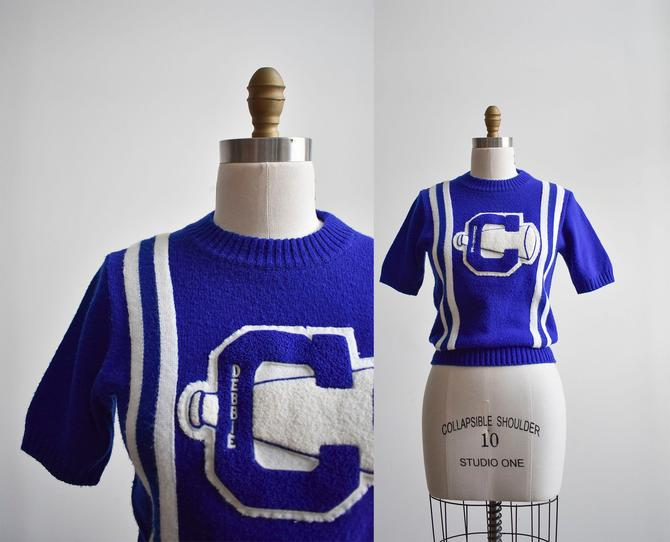 1950s Blue Knit Cheer Sweater by milkandice