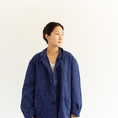 Vintage Blue Chore Coat   Unisex Cotton Military Utility Work Jacket   Made in Italy   L   IT214 by RAWSONSTUDIO