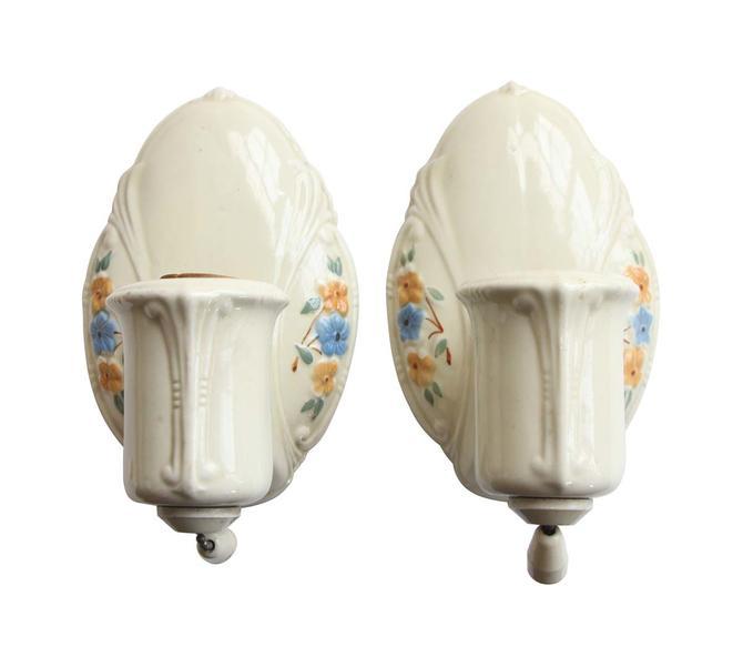 Pair of 1910s Porcelain Floral Bathroom Wall Sconces