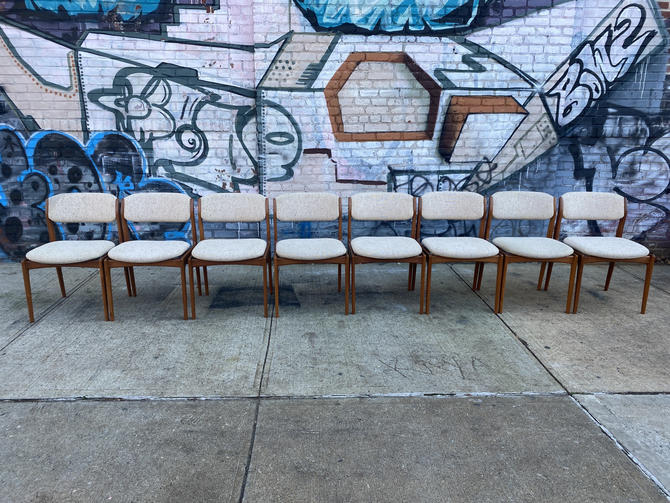 Set of 8 Midcentury danish modern Teak armless Dining side Chairs with upholstery by symmetrymodern