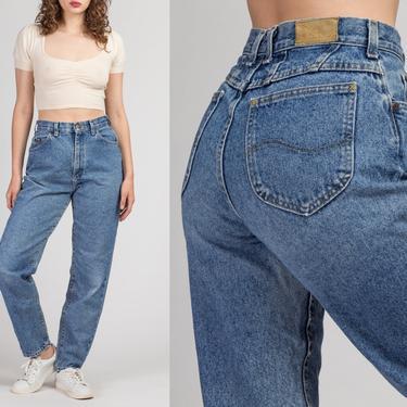 "90s High Waist Lee Mom Jeans - Medium, 28""   Vintage Stonewash Denim Tapered Leg Jeans by FlyingAppleVintage"