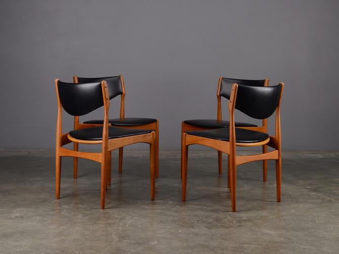4 Mid Century Dining Chairs Brdr Andersen Danish Modern Teak and Black by MadsenModern