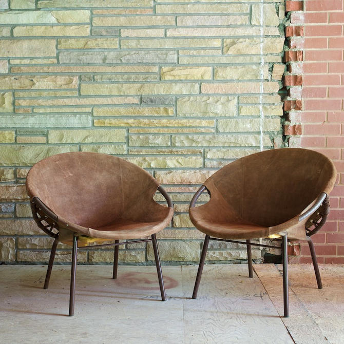 Pair Lusch Circle Chairs Suede Green Leather Pair Vintage