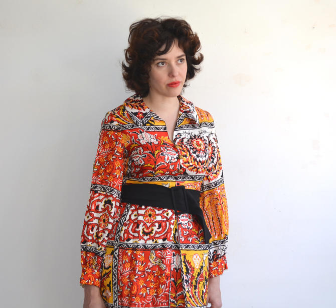 SALE 25% OFF Vintage 60's Juenesse Floral Dress with Gold Buttons and Belt/ Medium by bottleofbread