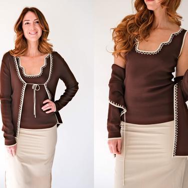 Vintage Y2K BCBG Chocolate Brown Blouse & Cardigan Set w/ White Zig Zag Embroidered Trim   Rayon Blend   2000s Designer Boho Sweater Set by TheVault1969