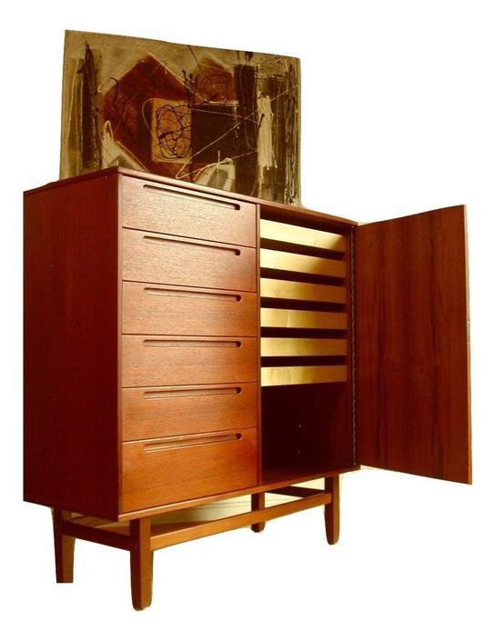 Danish Modern Teak Dresser Gentleman's Chest By Nils Jonsson for HJN Mobler