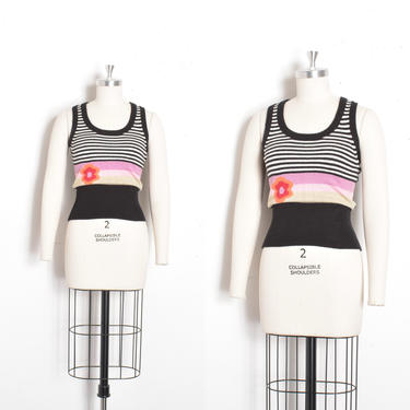 Vintage 1970s Tank Top / 70s Knit Striped and Floral Sweater Vest / Black White ( XS extra small ) by lapoubellevintage