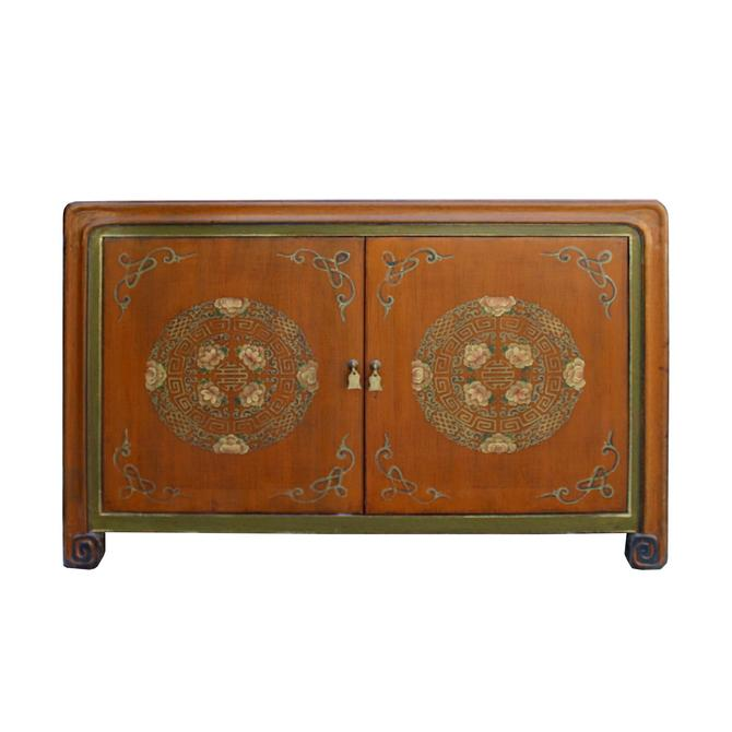 Chinese Distressed Orange Green Flower Graphic TV Console Cabinet cs5777S