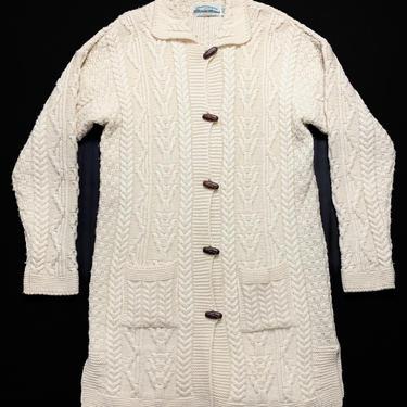 Vintage Women's ARAN CRAFTS Irish Merino Wool Cardigan ~ S ~ Fisherman Sweater ~ Cable Knit Coat ~ Arancrafts / Made in Ireland by SparrowsAndWolves