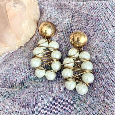 Big 80s Earrings, Dangle Drop, Faux Pearl, Statement Jewelry, Wire Wrapped, Chandelier, Vintage by GabAboutVintage