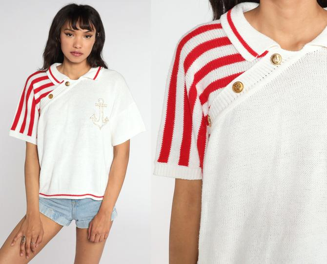 Anchor Sweater Top 80s Knit Shirt Striped Nautical Shirt Short Sleeve Sweater Yacht White Red Sailor Retro Striped Collared Large by ShopExile